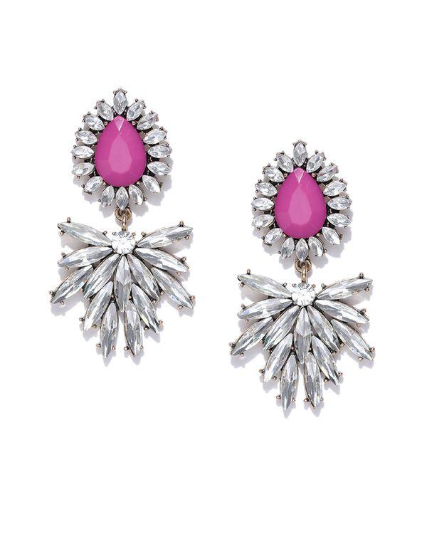 Pink almond shaped crystal drop earrings 1