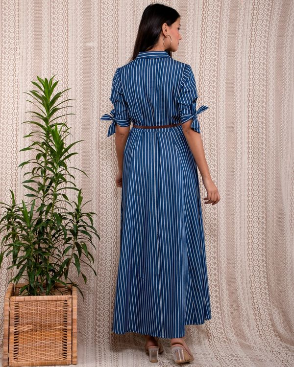 Blue striped button down dress with belt - Set Of Two 3