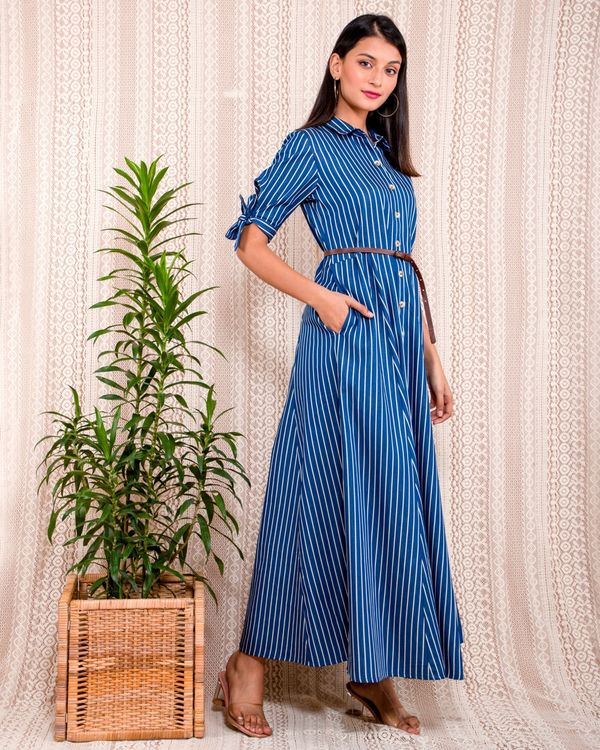 Blue striped button down dress with belt - Set Of Two 2