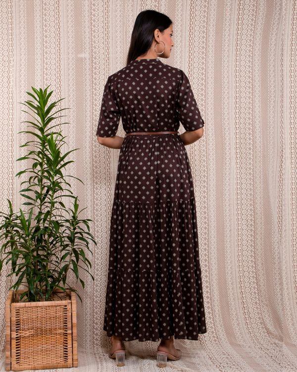 Dark brown and beige printed mandarin dress with belt - Set Of Two 3