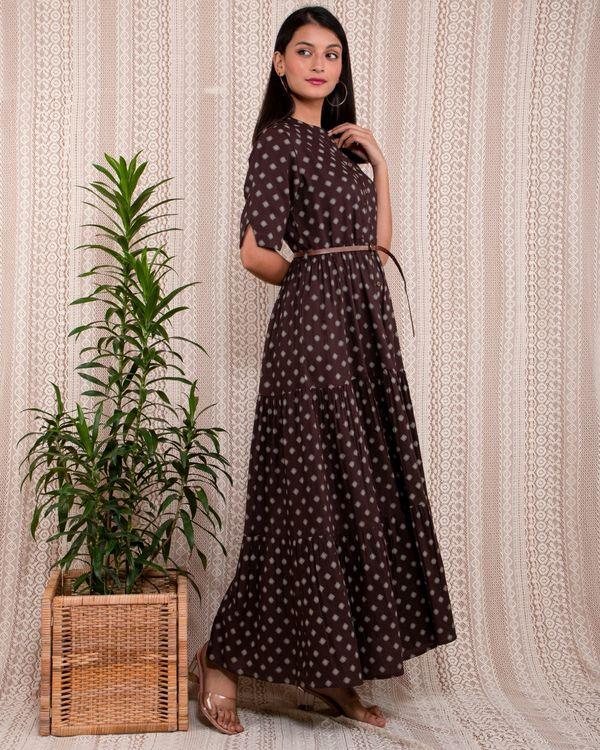 Dark brown and beige printed mandarin dress with belt - Set Of Two 2