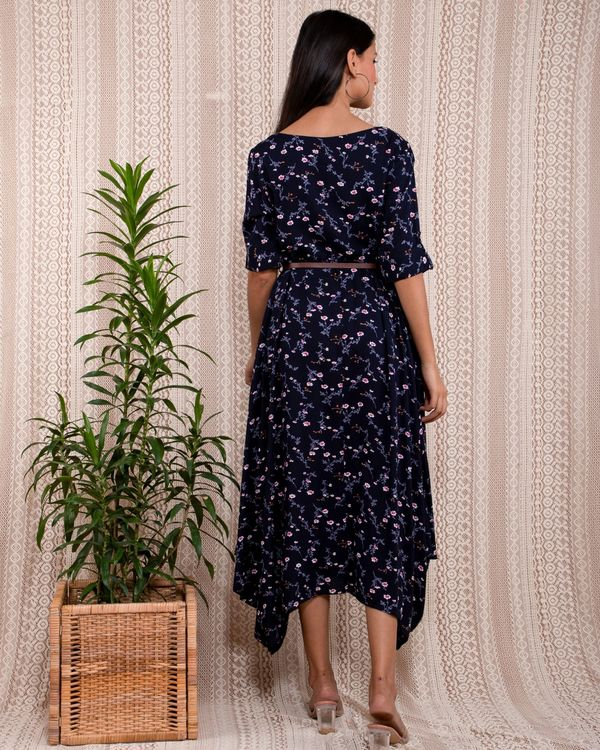 Navy blue floral printed asymmetrical dress with belt - Set Of Two 4