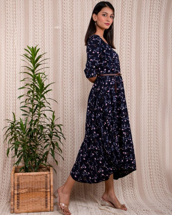 Navy blue floral printed asymmetrical dress with belt - Set Of Two 3