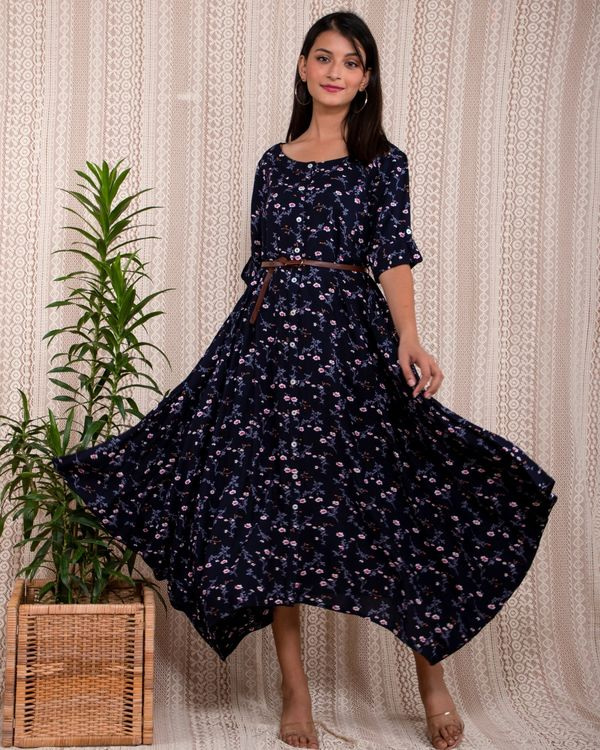 Navy blue floral printed asymmetrical dress with belt - Set Of Two 2