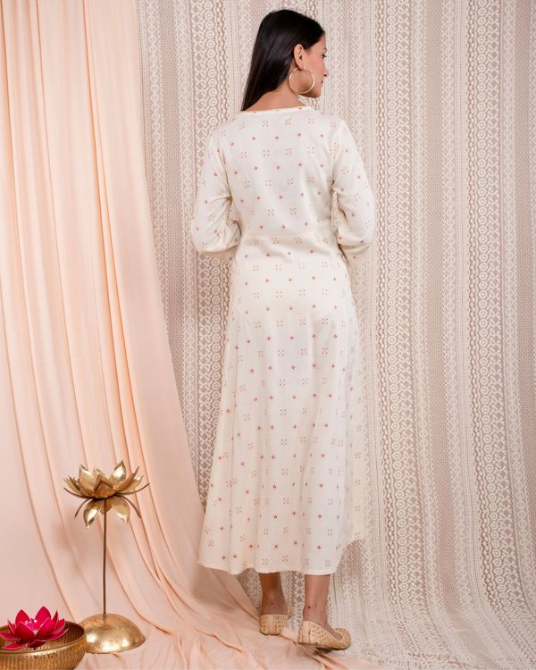 White printed yoke dress 3