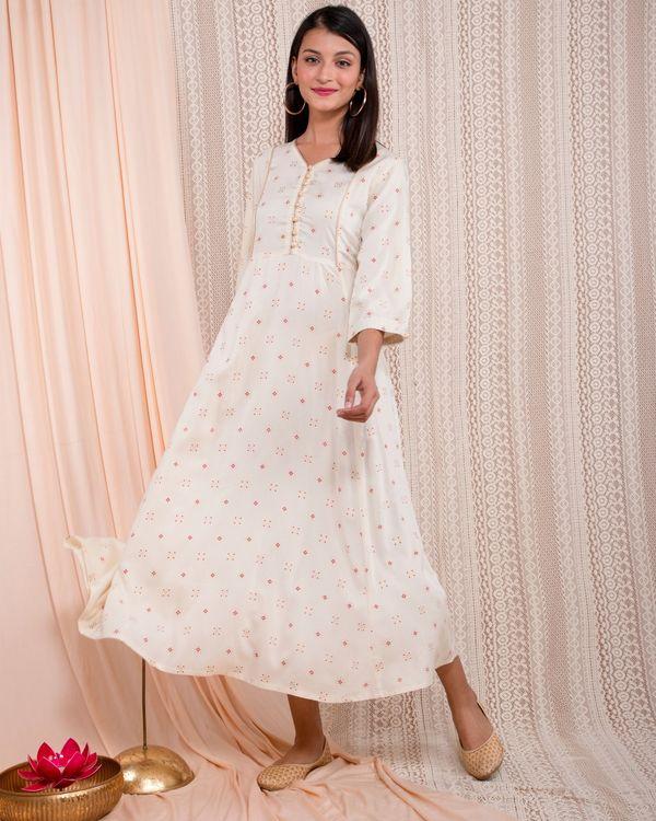 White printed yoke dress 2
