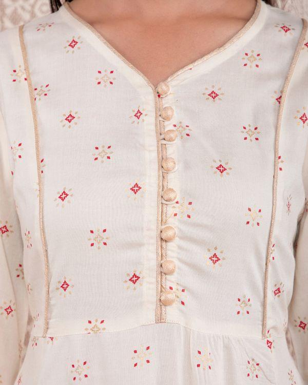 White printed yoke dress 1