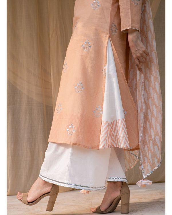 Peach embroidered kurta and palazzo with inner and dupatta - Set Of Four 2