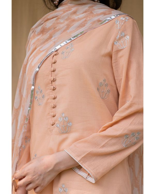 Peach embroidered kurta and palazzo with inner and dupatta - Set Of Four 1