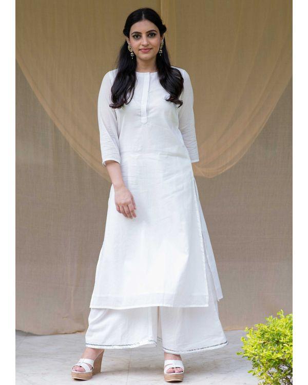 White cotton kurta with gota palazzo and red dupatta - Set Of Three 3