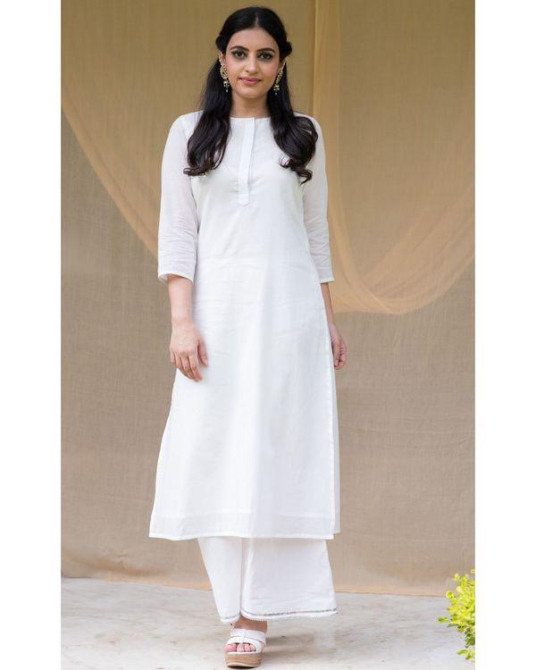 White cotton kurta with gota palazzo and olive green dupatta - Set Of Three 2