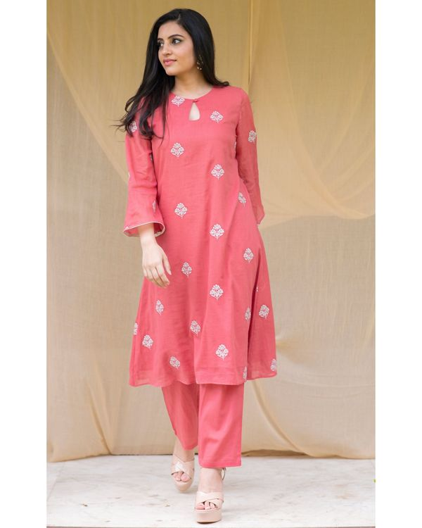 Red embroidered kurta and pants with block printed dupatta - Set Of Three 3