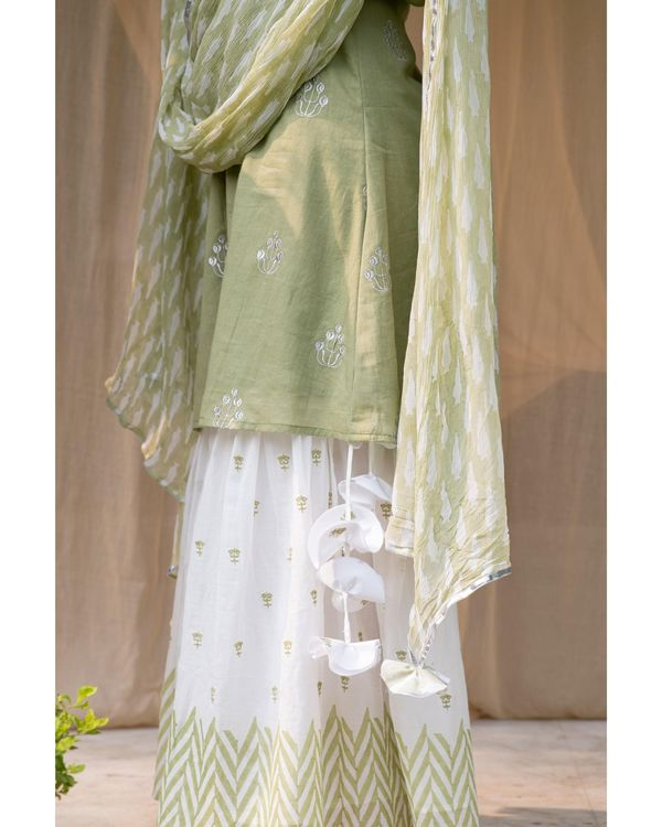 Olive green embroidered kurta and chevron sharara with dupatta - Set Of Three 2