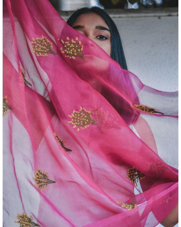 Rani pink bead embroidered organza dupatta 1