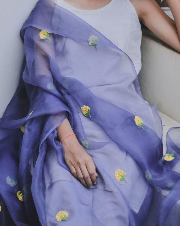 Iris purple bead embroidered organza dupatta 1