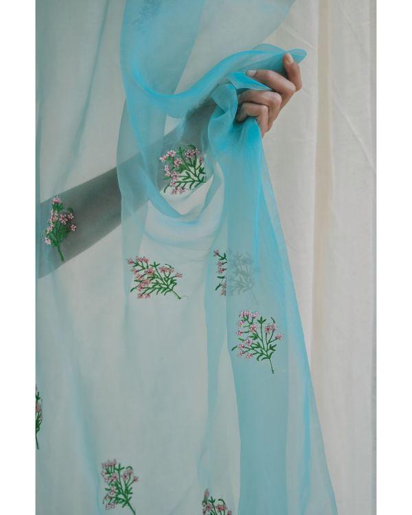 Aqua blue bead embroidered organza dupatta 1
