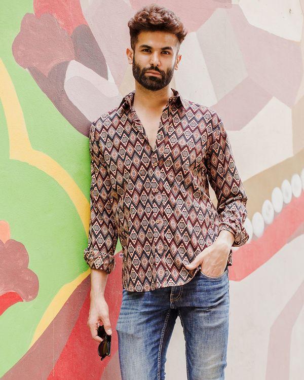 Beige and red diamond motif ajrakh shirt 1