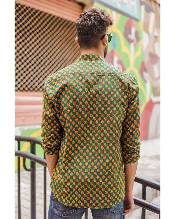 Green and red ajrakh floral printed shirt 2
