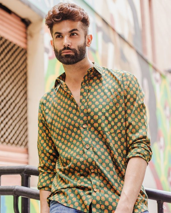 Green and red ajrakh floral printed shirt 1