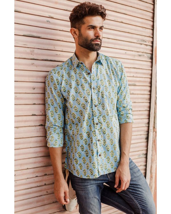 Light blue and yellow floral printed shirt 2