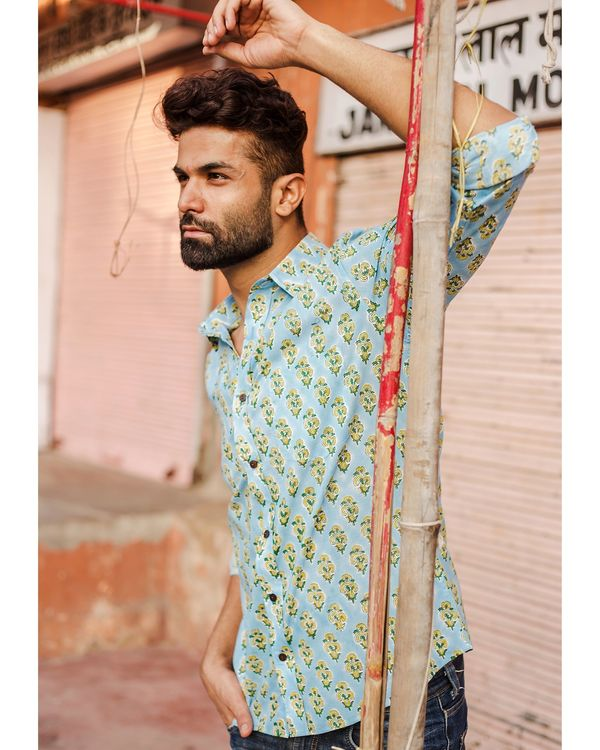 Light blue and yellow floral printed shirt 1