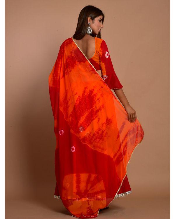 Marsala red tie and dye choli and lehenga with dupatta - Set Of Three 4