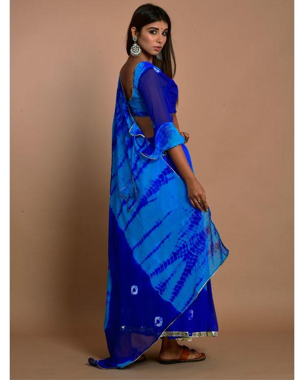 Blue tie and dye choli and gota lehenga with dupatta - Set Of Three 2