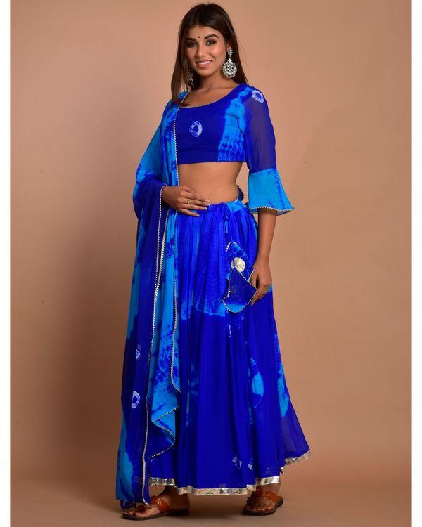 Blue tie and dye choli and gota lehenga with dupatta - Set Of Three 1