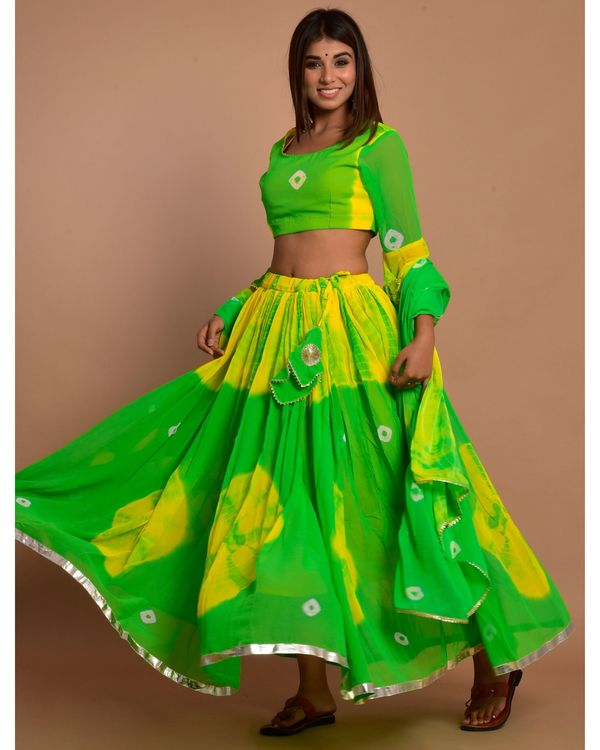 Green and yellow tie and dye choli and lehenga with dupatta - Set Of Three 1