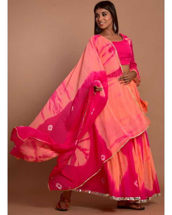 Hot pink and peach tie and dye choli and lehenga with dupatta - Set Of Three 3