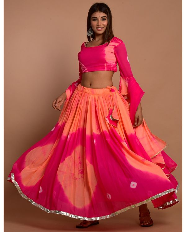 Hot pink and peach tie and dye choli and lehenga with dupatta - Set Of Three 2