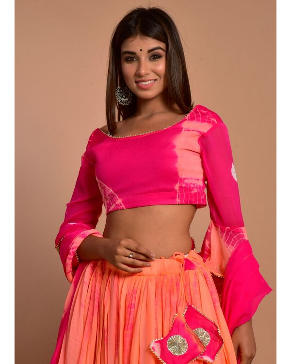 Hot pink and peach tie and dye choli and lehenga with dupatta - Set Of Three 1