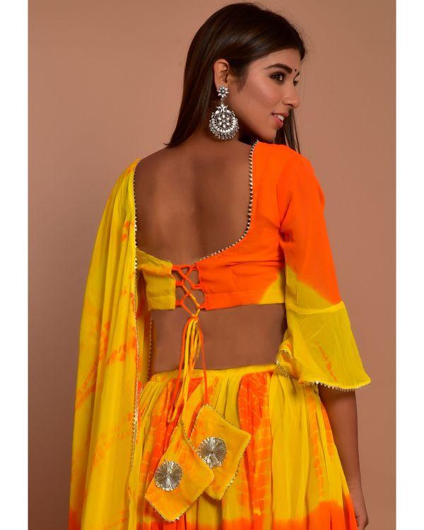 Orange and yellow tie and dye choli and lehenga with dupatta - Set Of Three 4