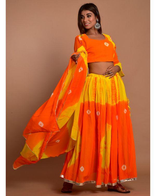 Orange and yellow tie and dye choli and lehenga with dupatta - Set Of Three 3