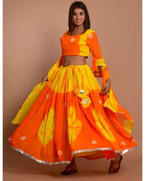 Orange and yellow tie and dye choli and lehenga with dupatta - Set Of Three 2