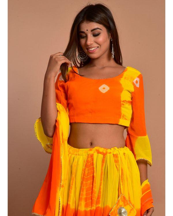 Orange and yellow tie and dye choli and lehenga with dupatta - Set Of Three 1