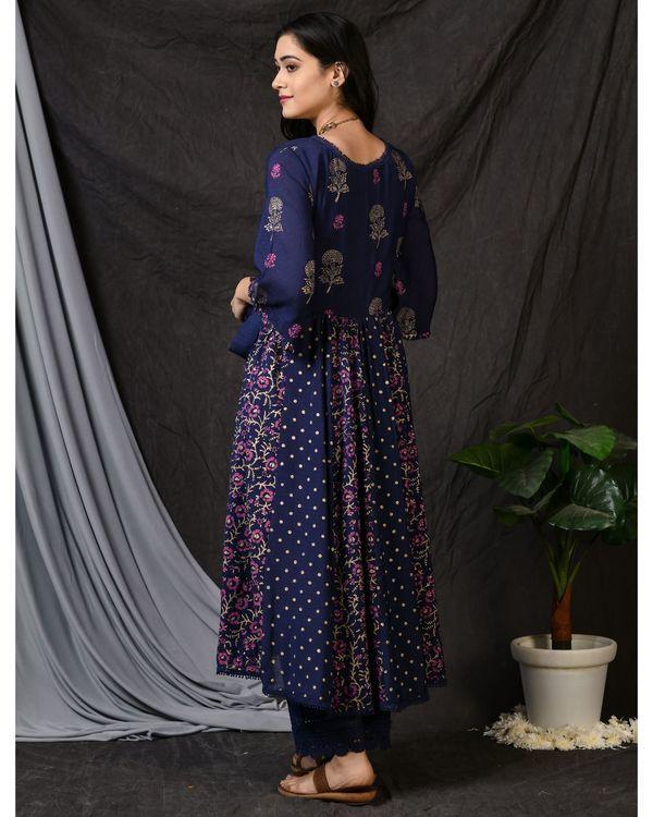 Blue cotton pants with lace detailing 1