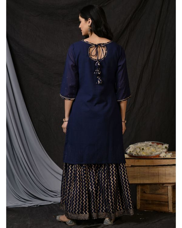 Blue floral embroidered sushi voile kurta 3