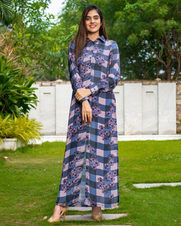 Blue and black checks printed slit dress 2