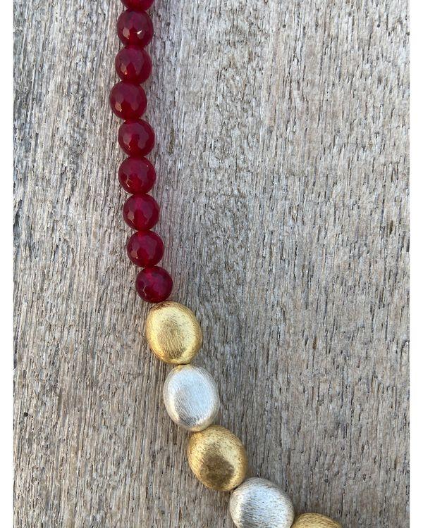 Ruby red beaded neckpiece 1