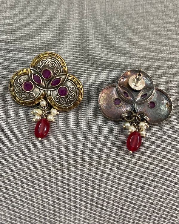 Pink stone embellished beaded antique earring 1