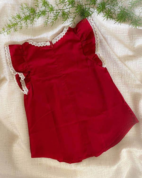 cherry red ruffle sleeve dress 2