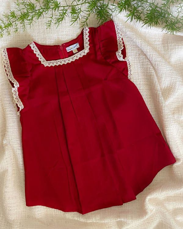 cherry red ruffle sleeve dress 1