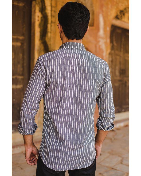 Grey and white striped ikat shirt 3