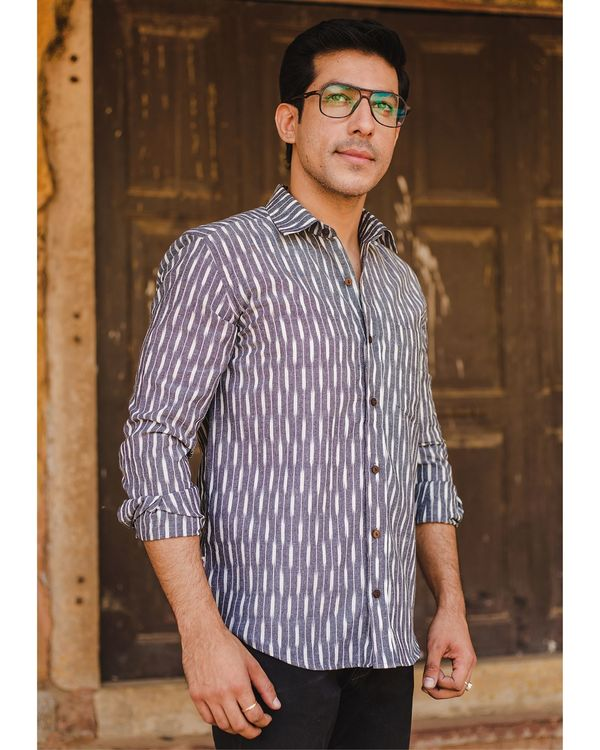 Grey and white striped ikat shirt 1