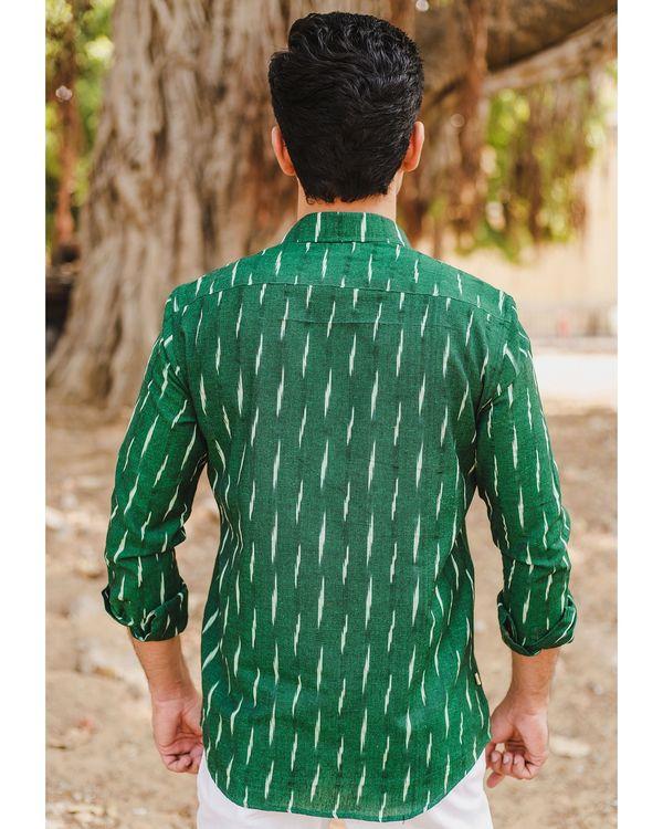 Green handloom cotton ikat shirt 3