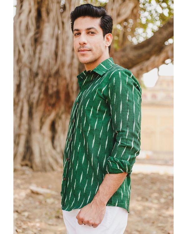 Green handloom cotton ikat shirt 2