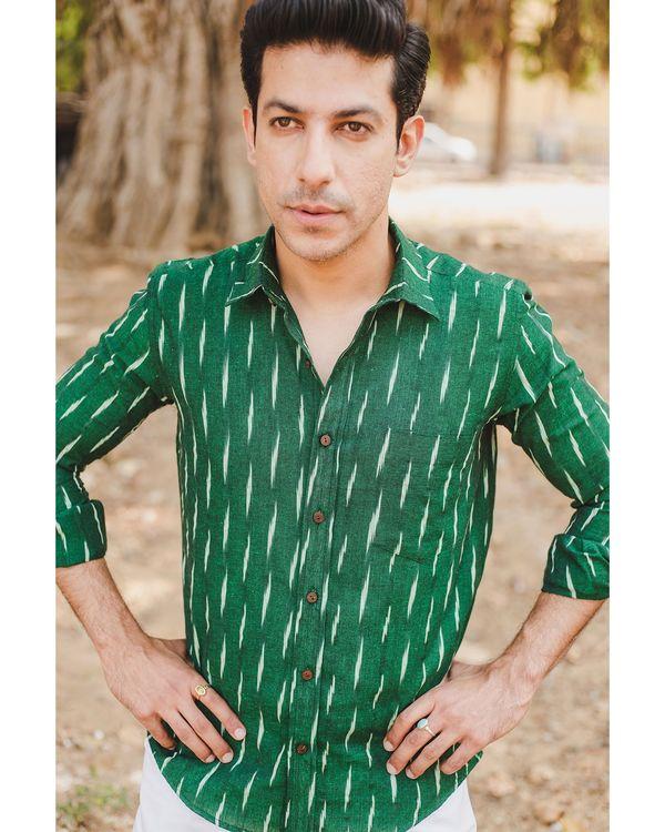 Green handloom cotton ikat shirt 1