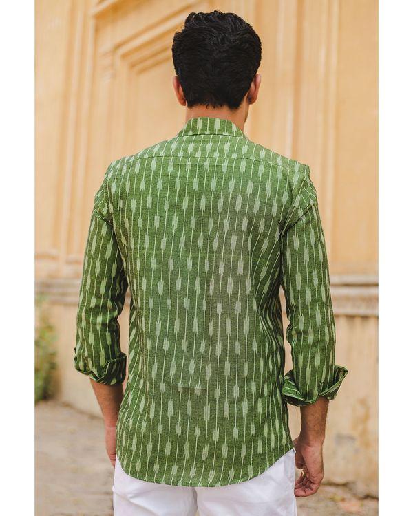 Leaf green striped ikat shirt 3