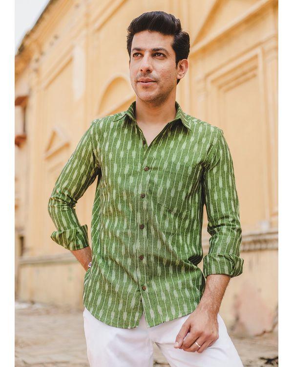 Leaf green striped ikat shirt 2